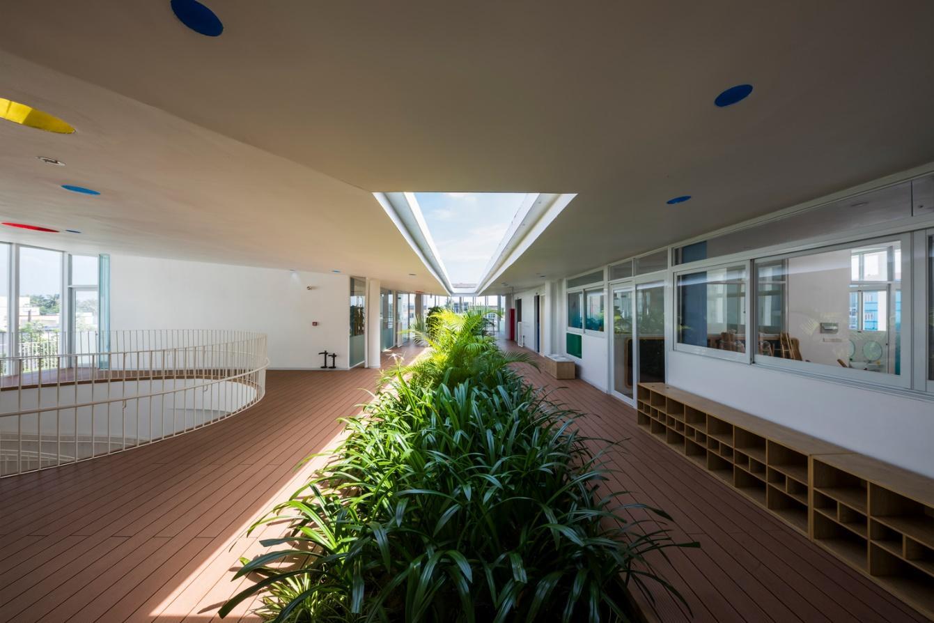 Không gian mở của các lớp học với cây xanh và ánh sáng bên ngoài.