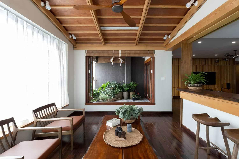 Phòng ăn với thiết kế kết hợp với thiên nhiên
