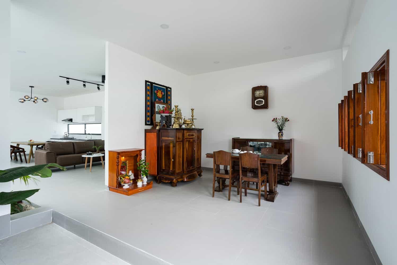Sự kết hợp yếu tố truyền thống và hiện đại chủ yếu thông qua việc tận dụng và làm mới nội thất