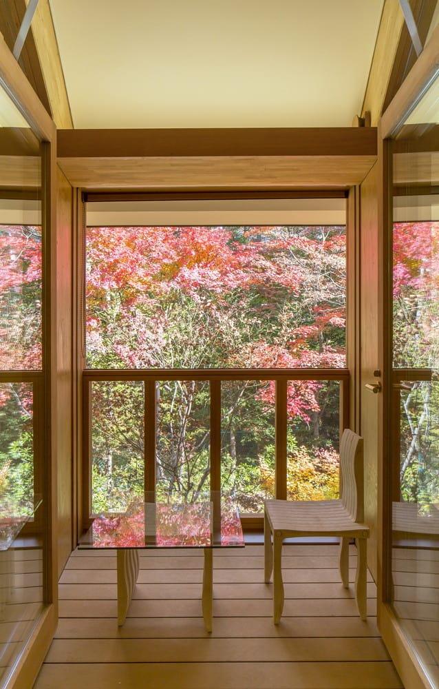 Từ hiên nhà có thể nhìn ra rừng lá phong rực rỡ