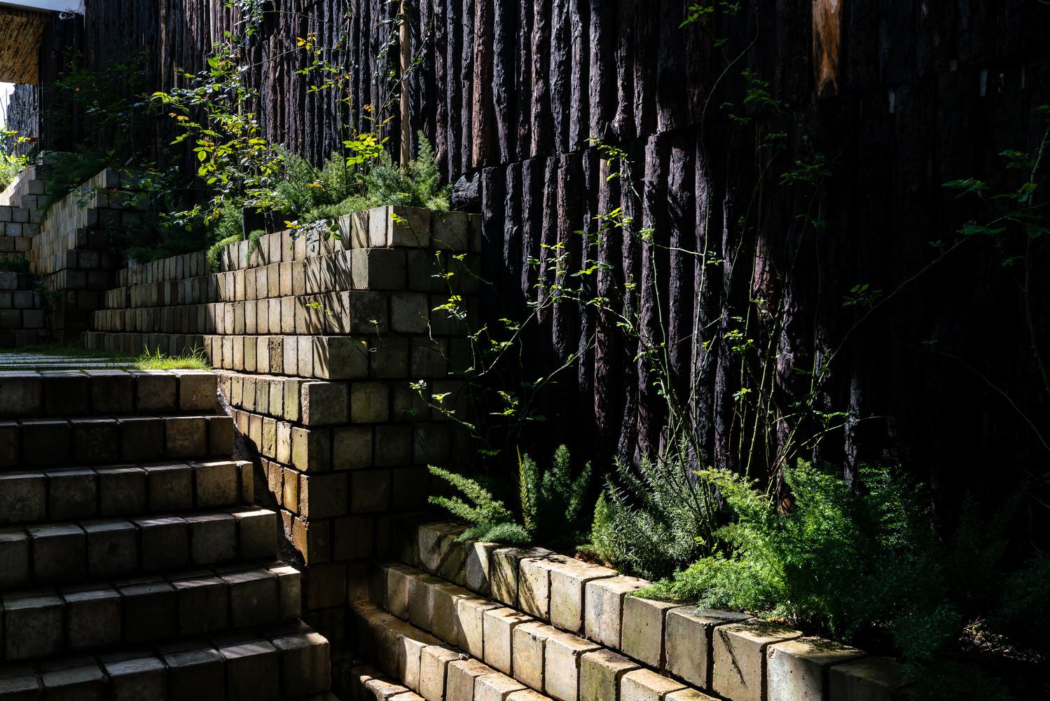 Lối đi lại phủ kín bằng gạch ba banh