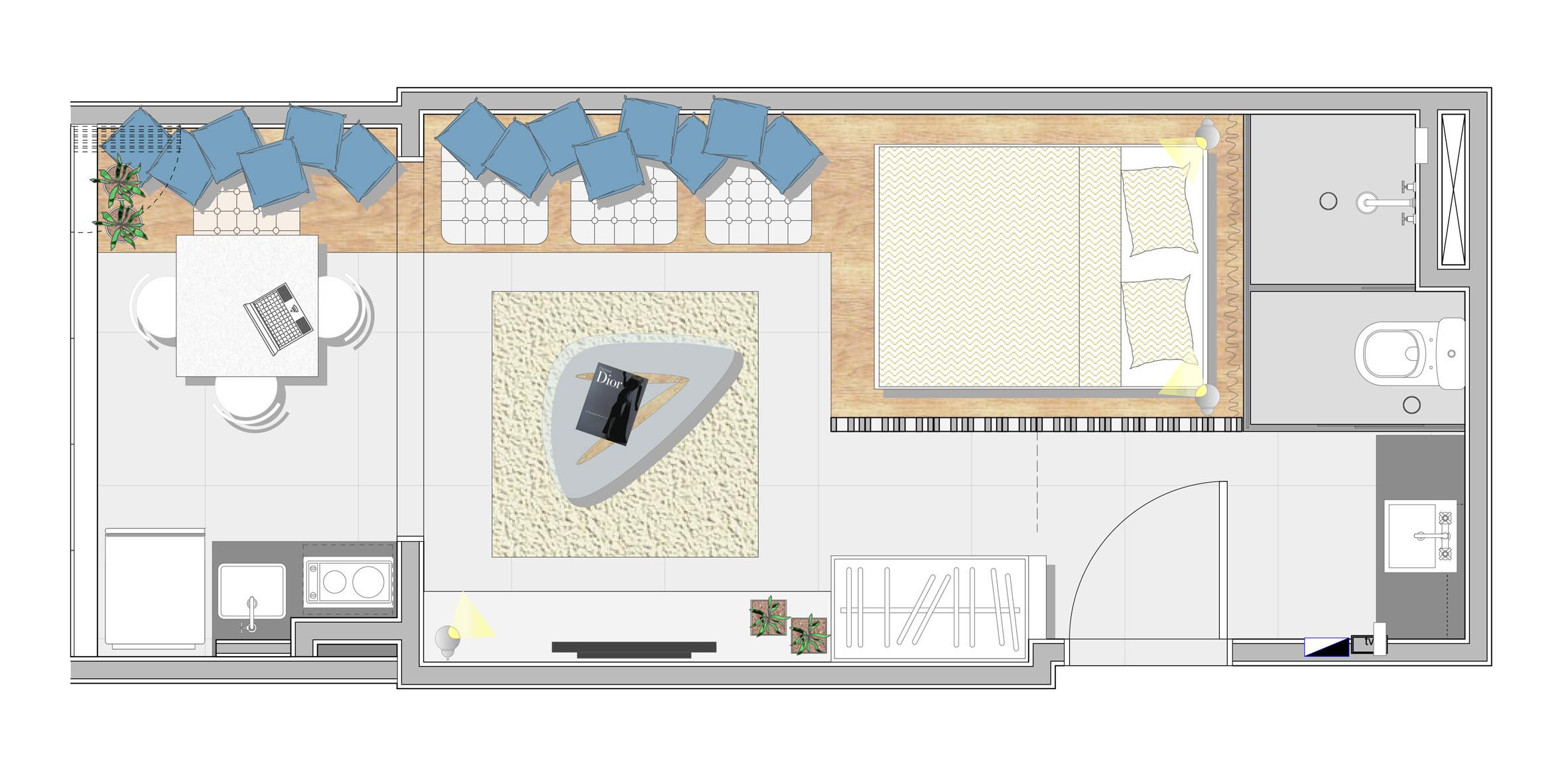 Bản vẽ mô phỏng căn hộ