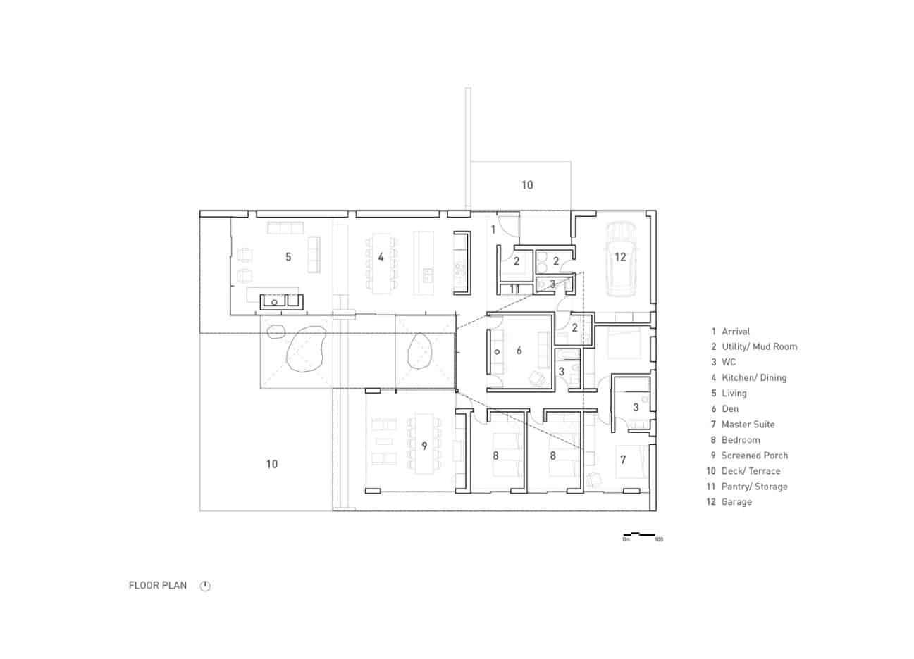 Bản vẽ mặt cắt phẳng thể hiện sơ đồ ngôi nhà cùng các phòng, khu vực sinh hoạt chung. Tất cả đều được sắp xếp rất khoa học, hợp lý.