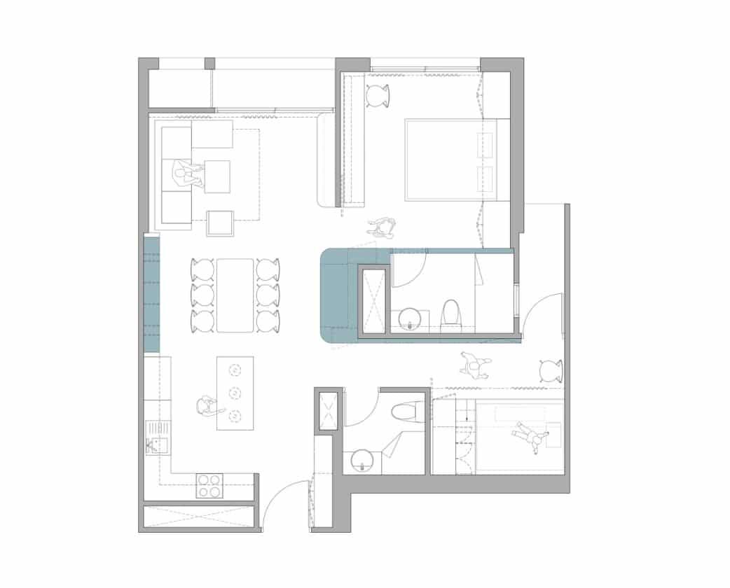 Bản vẽ căn hộ 78 m2 sau khi cải tạo.