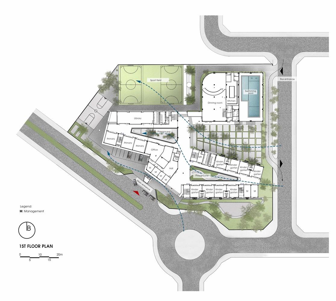 Thiết kế tổng thể ngôi trường trên khu đất