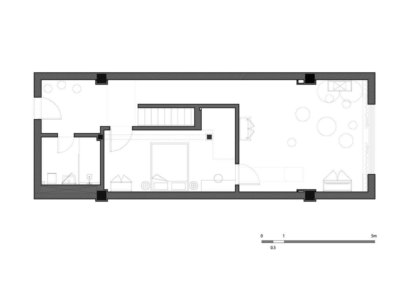 Bản vẽ mô tả mặt cắt căn nhà.