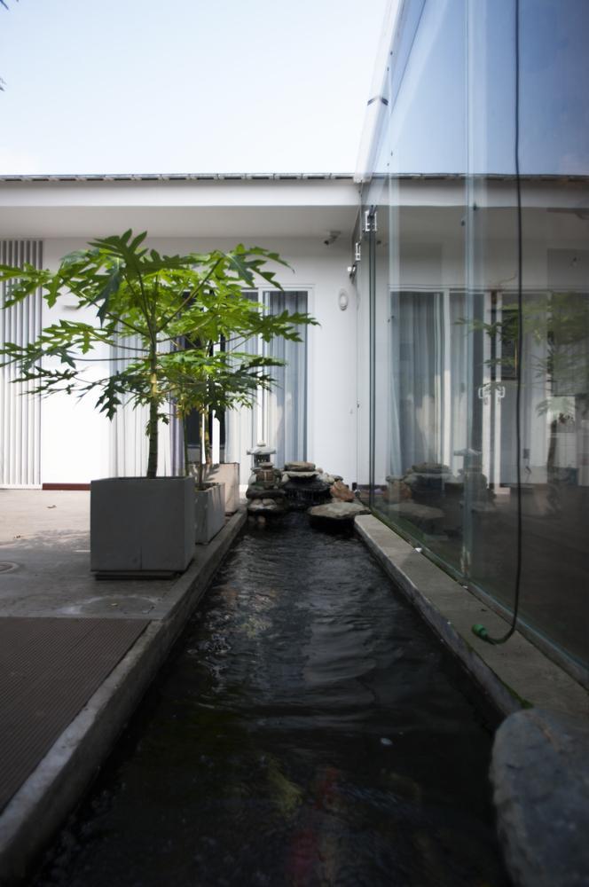 Bể chứa nước vừa làm nơi tưới cây vừa để hứng nước mưa.