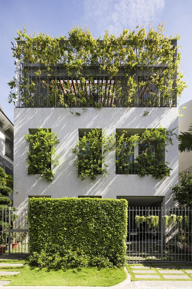 """Ngôi nhà được đặt tên là """"nhà công viên"""" hay """"nhà nhiệt đới"""" bởi sắc xanh bao phủ từ mặt tiền cho đến không gian bên trong."""